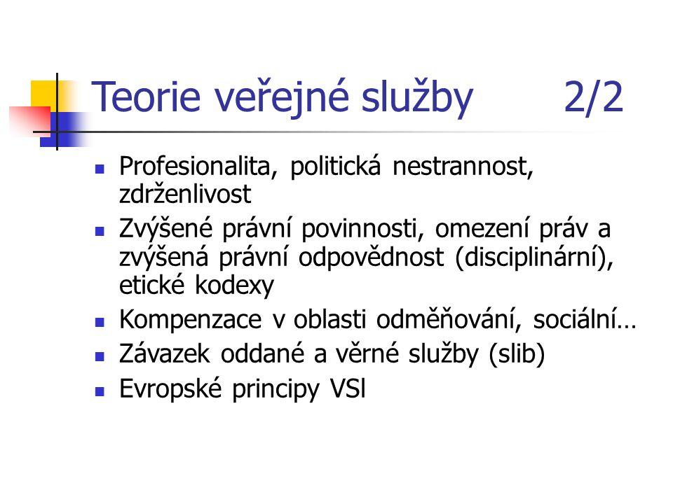 Teorie veřejné služby 2/2 Profesionalita, politická nestrannost, zdrženlivost Zvýšené právní povinnosti, omezení práv a zvýšená právní odpovědnost (disciplinární), etické kodexy Kompenzace v oblasti odměňování, sociální… Závazek oddané a věrné služby (slib) Evropské principy VSl