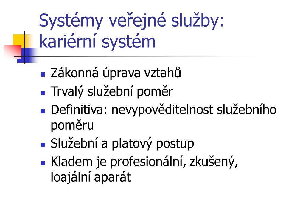 Systémy veřejné služby: kariérní systém Zákonná úprava vztahů Trvalý služební poměr Definitiva: nevypověditelnost služebního poměru Služební a platový postup Kladem je profesionální, zkušený, loajální aparát