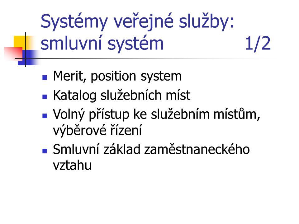 Systémy veřejné služby: smluvní systém 1/2 Merit, position system Katalog služebních míst Volný přístup ke služebním místům, výběrové řízení Smluvní z