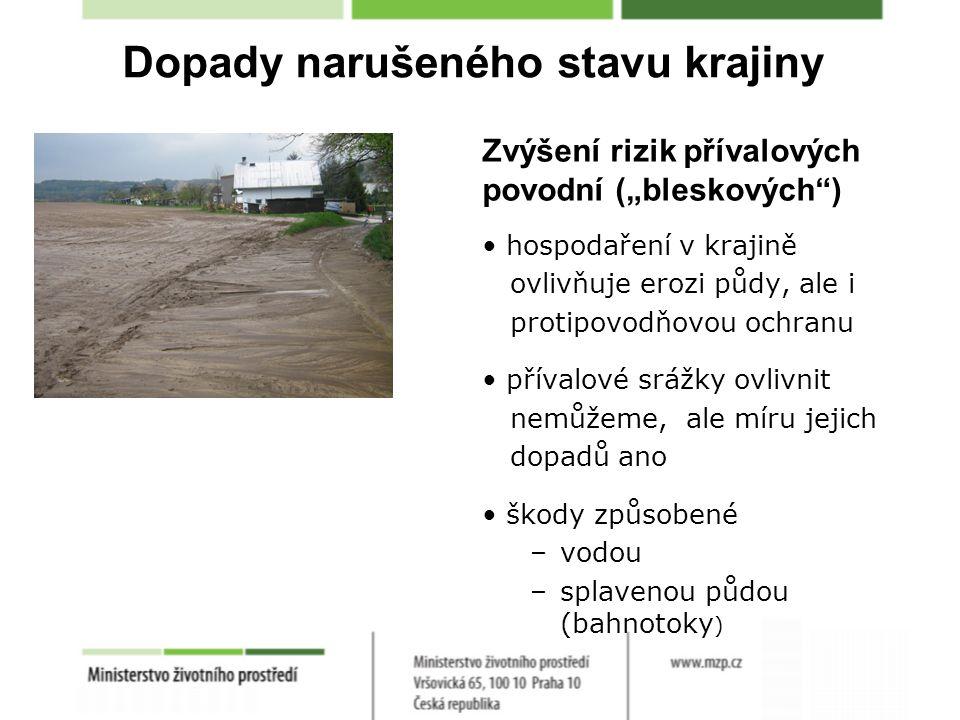 """Dopady narušeného stavu krajiny Zvýšení rizik přívalových povodní (""""bleskových ) hospodaření v krajině ovlivňuje erozi půdy, ale i protipovodňovou ochranu přívalové srážky ovlivnit nemůžeme, ale míru jejich dopadů ano škody způsobené –vodou –splavenou půdou (bahnotoky )"""