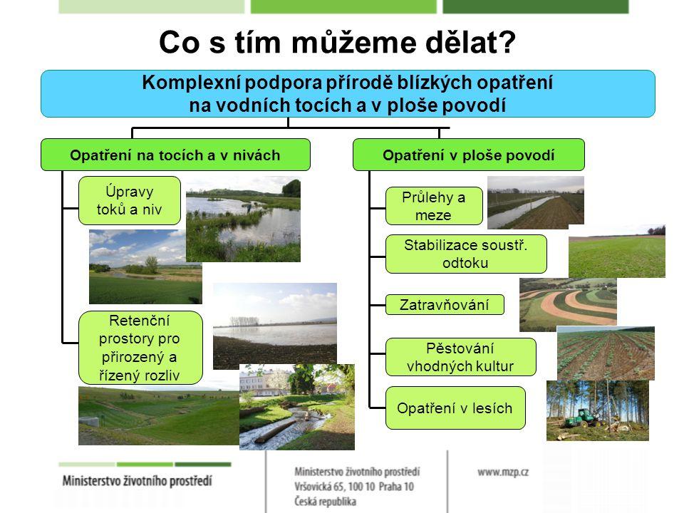Komplexní podpora přírodě blízkých opatření na vodních tocích a v ploše povodí Opatření na tocích a v niváchOpatření v ploše povodí Úpravy toků a niv Retenční prostory pro přirozený a řízený rozliv Průlehy a meze Opatření v lesích Stabilizace soustř.
