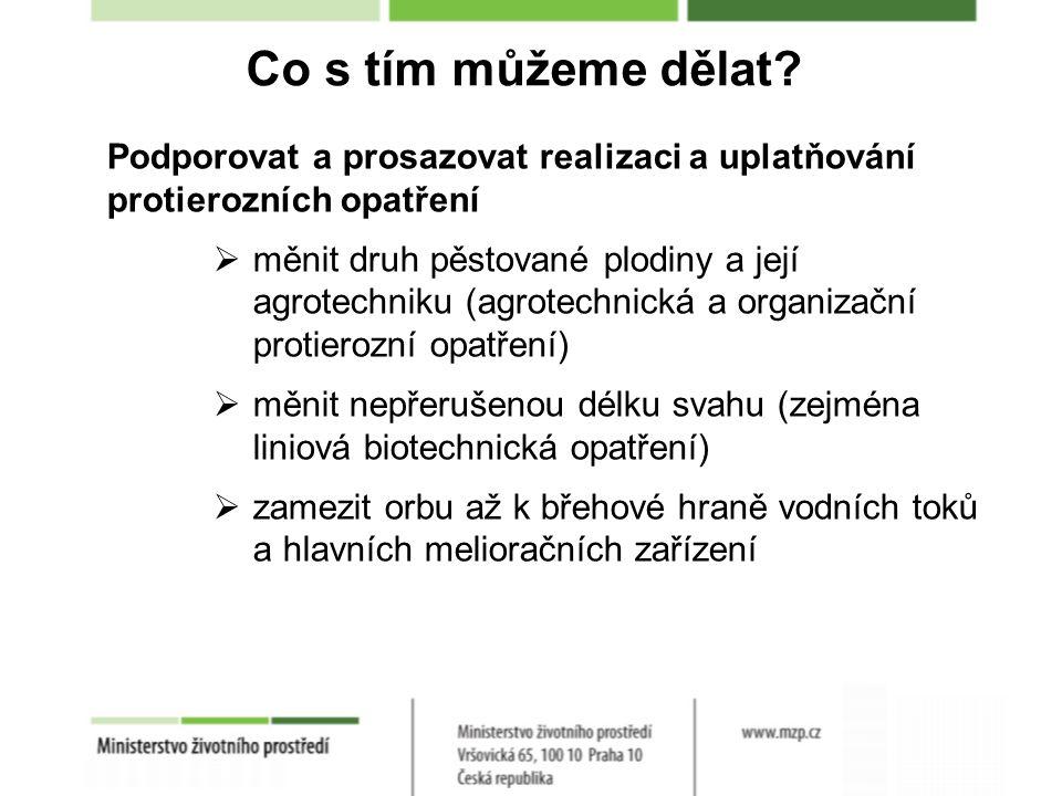 Co s tím můžeme dělat? Podporovat a prosazovat realizaci a uplatňování protierozních opatření  měnit druh pěstované plodiny a její agrotechniku (agro