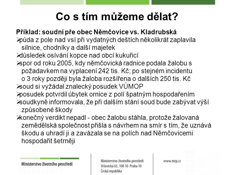 Co s tím můžeme dělat. Příklad: soudní pře obec Němčovice vs.