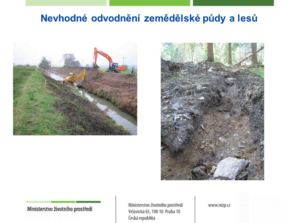 Nevhodné odvodnění zemědělské půdy a lesů