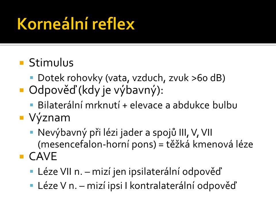  Stimulus  Dotek rohovky (vata, vzduch, zvuk >60 dB)  Odpověď (kdy je výbavný):  Bilaterální mrknutí + elevace a abdukce bulbu  Význam  Nevýbavný při lézi jader a spojů III, V, VII (mesencefalon-horní pons) = těžká kmenová léze  CAVE  Léze VII n.