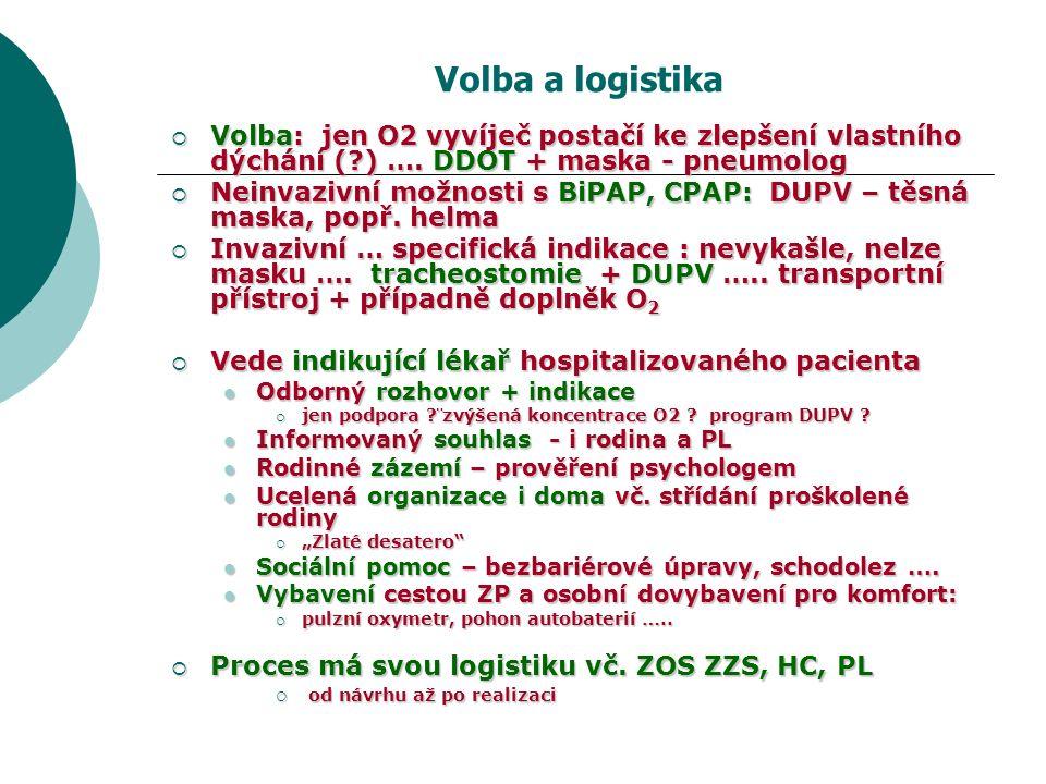 Volba a logistika  Volba: jen O2 vyvíječ postačí ke zlepšení vlastního dýchání ( ) ….