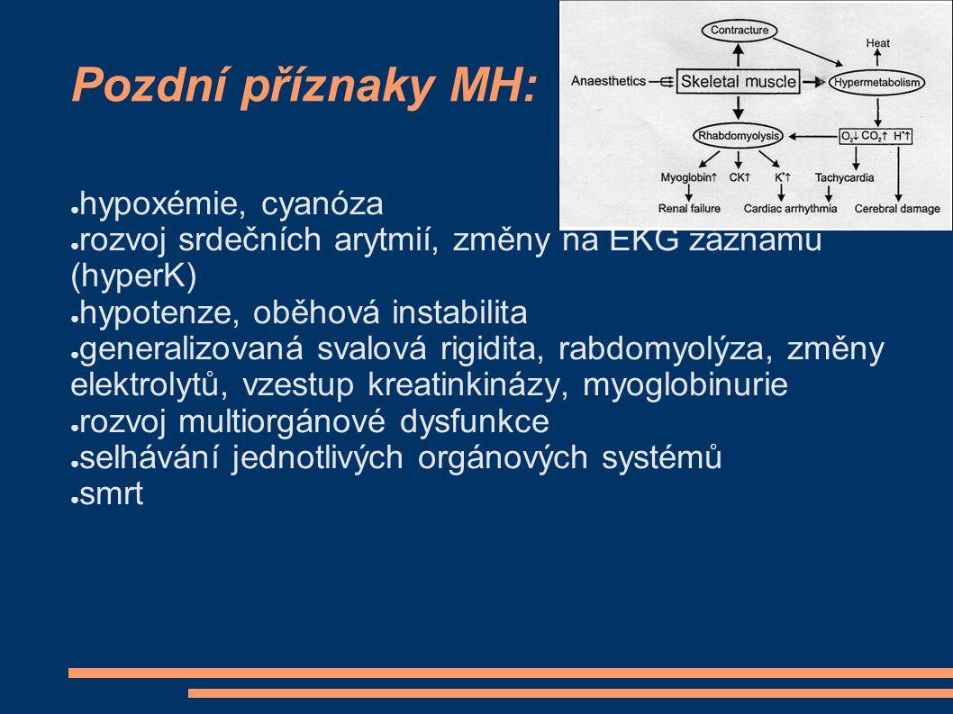 Pozdní příznaky MH: ● hypoxémie, cyanóza ● rozvoj srdečních arytmií, změny na EKG záznamu (hyperK) ● hypotenze, oběhová instabilita ● generalizovaná s