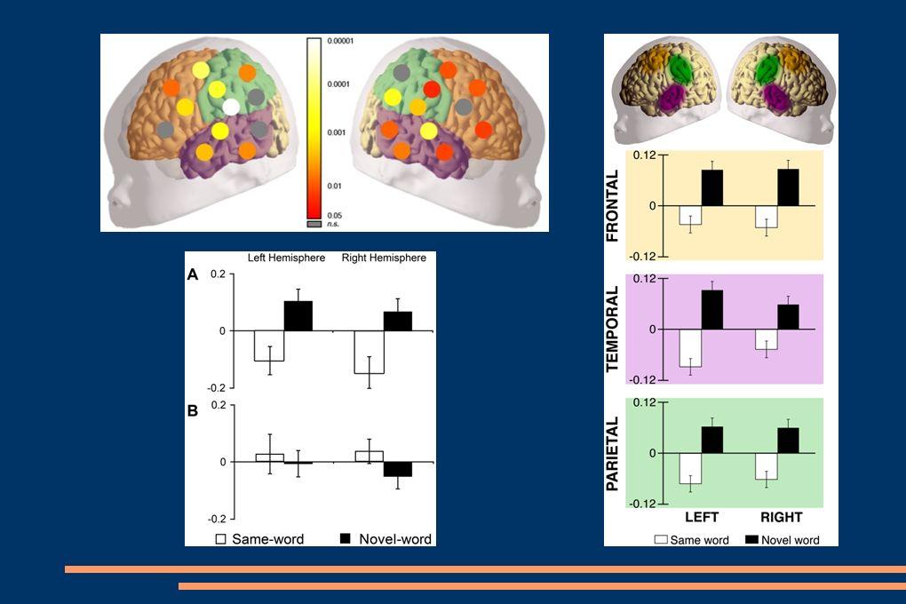 Zhodnocení: novorozenec je schopen rozlišit nové slovo od již dříve slyšeného již několik hodin po porodu přímý vztah mezi interferencí stimulů a pamětí schopnost rozlišovat mluvené slovo od instrumentální hudby