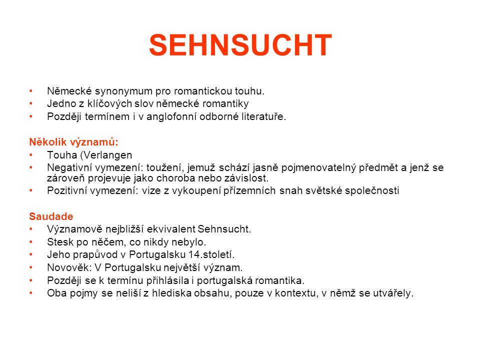 SEHNSUCHT Vymezení pojmu Negativní definice – co není Sehnsucht Melancholie: skleslost či zábava v zádumčivých náladách.