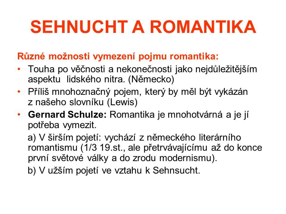 SEHNUCHT A ROMANTIKA Různé možnosti vymezení pojmu romantika: Touha po věčnosti a nekonečnosti jako nejdůležitějším aspektu lidského nitra.
