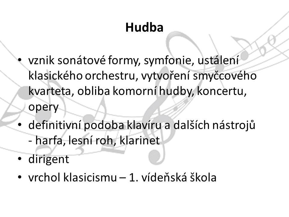 Sonátová forma 3 části: expozice (představení 3 témat – hlavní, vedlejší a závěrečné) provedení (práce skladatele s tématem z expozice, provádí ho přes různé tóniny) repríza (opakování expozice v jiné tónině než v expozici)