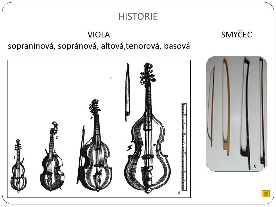 HISTORIE 4 5 SMYČECVIOLA sopraninová, sopránová, altová,tenorová, basová