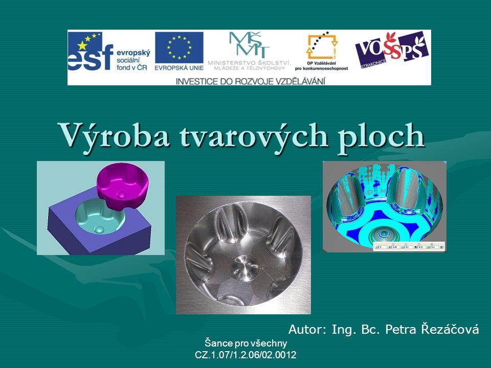 Výroba tvarových ploch Šance pro všechny CZ.1.07/1.2.06/02.0012 Autor: Ing. Bc. Petra Řezáčová
