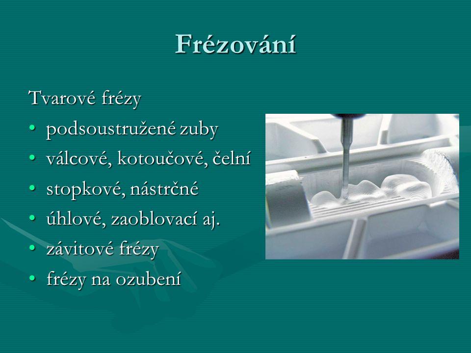 Frézování Tvarové frézy podsoustružené zubypodsoustružené zuby válcové, kotoučové, čelníválcové, kotoučové, čelní stopkové, nástrčnéstopkové, nástrčné úhlové, zaoblovací aj.úhlové, zaoblovací aj.