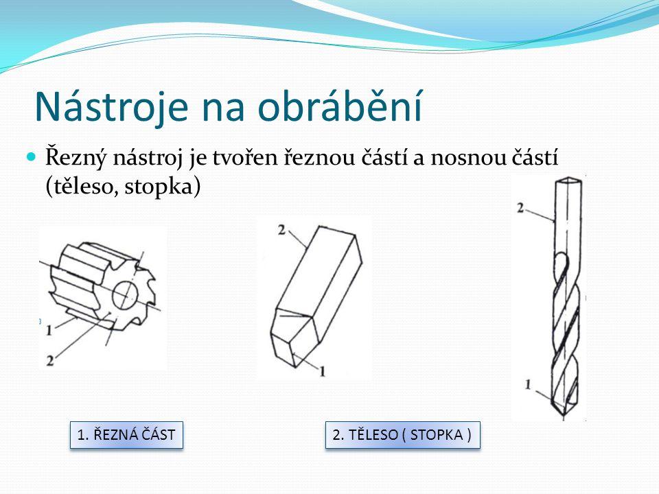 Řezný nástroj je tvořen řeznou částí a nosnou částí (těleso, stopka) 1.