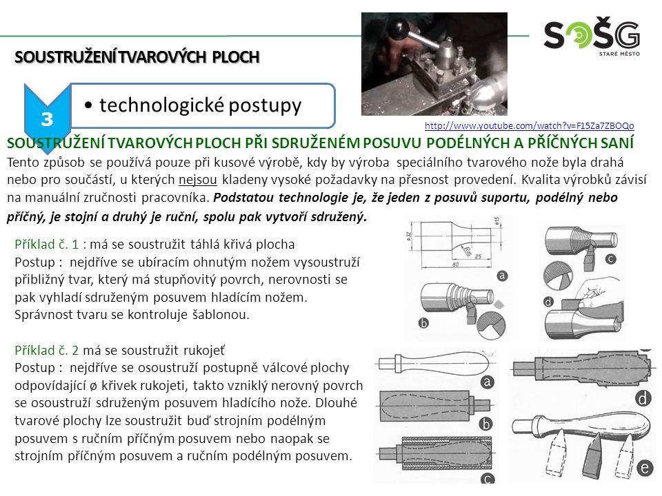 SOUSTRUŽENÍ TVAROVÝCH PLOCH 3 technologické postupy SOUSTRUŽENÍ TVAROVÝCH PLOCH PŘI SDRUŽENÉM POSUVU PODÉLNÝCH A PŘÍČNÝCH SANÍ Tento způsob se používá pouze při kusové výrobě, kdy by výroba speciálního tvarového nože byla drahá nebo pro součástí, u kterých nejsou kladeny vysoké požadavky na přesnost provedení.