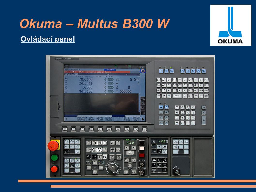 Okuma – Multus B300 W Ovládací panel