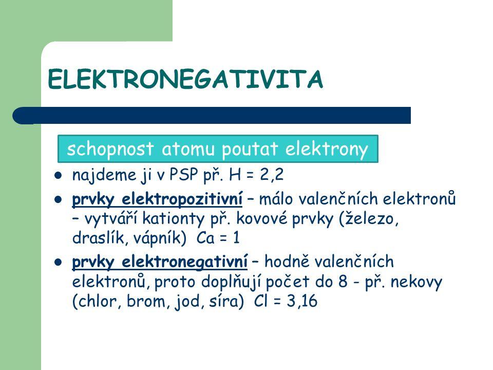 ELEKTRONEGATIVITA najdeme ji v PSP př.