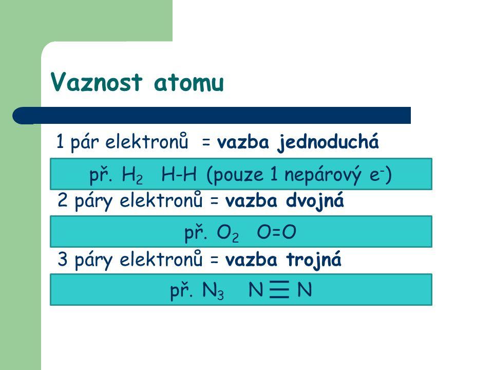 Vaznost atomu 1 pár elektronů = vazba jednoduchá 2 páry elektronů = vazba dvojná 3 páry elektronů = vazba trojná př.