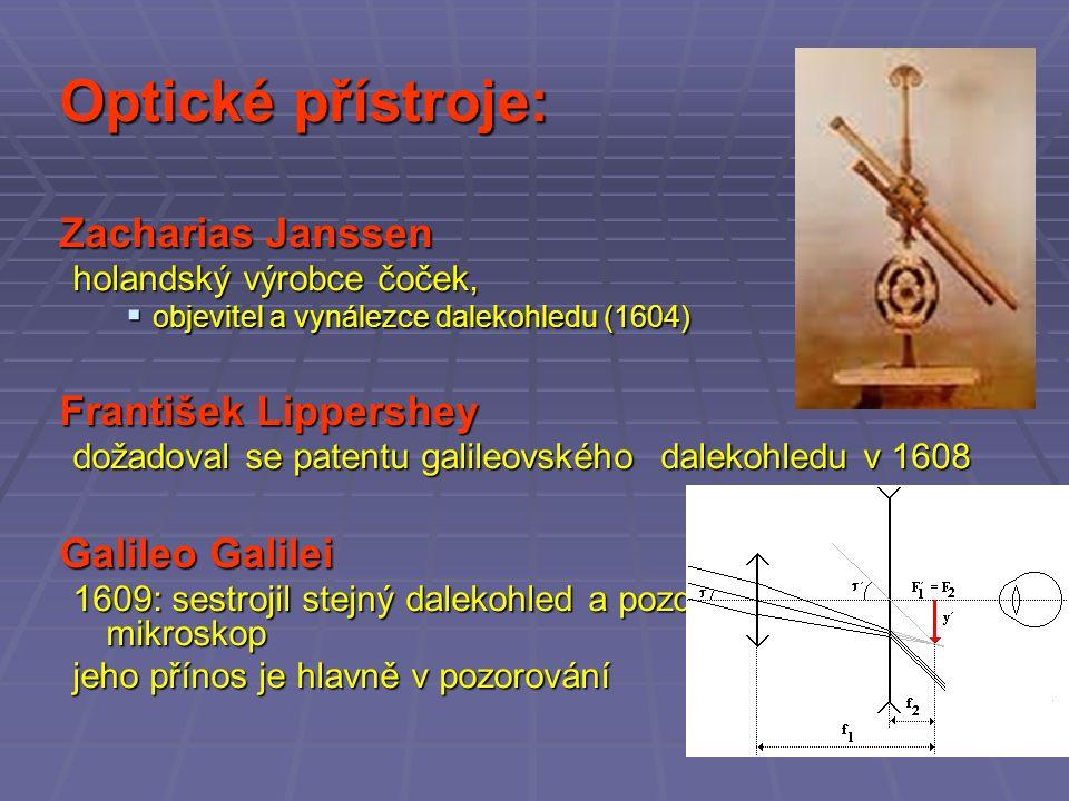 Optické přístroje: Zacharias Janssen holandský výrobce čoček,  objevitel a vynálezce dalekohledu (1604) František Lippershey dožadoval se patentu galileovskéhodalekohledu v 1608 Galileo Galilei 1609: sestrojil stejný dalekohled a později z něj udělal mikroskop jeho přínos je hlavně v pozorování