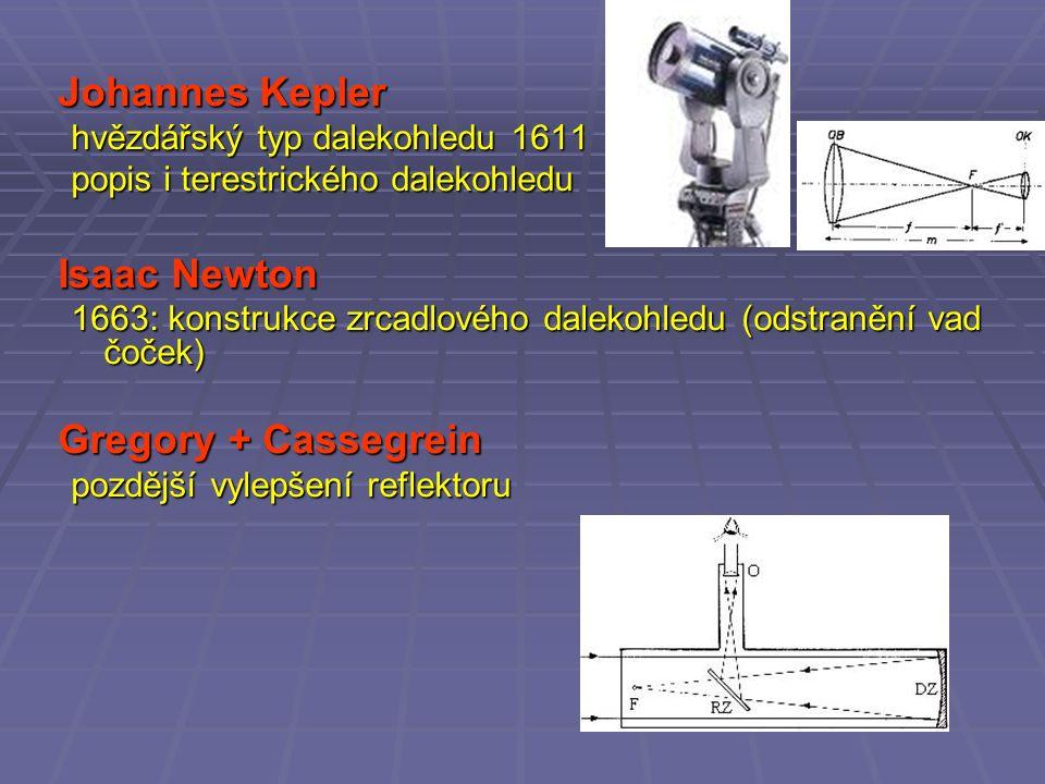 Johannes Kepler hvězdářský typ dalekohledu 1611 popis i terestrického dalekohledu Isaac Newton 1663: konstrukce zrcadlového dalekohledu (odstranění vad čoček) Gregory + Cassegrein pozdější vylepšení reflektoru