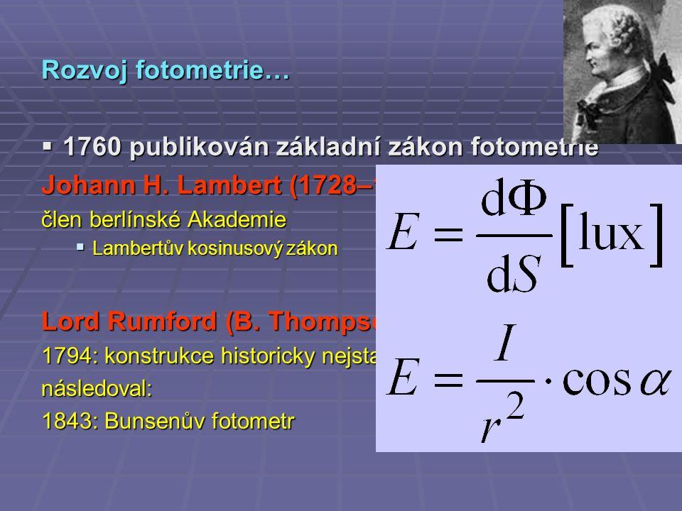 Rozvoj fotometrie…  1760 publikován základní zákon fotometrie Johann H.