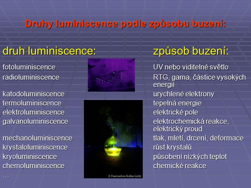 Druhy luminiscence podle způsobu buzení: druh luminiscence:způsob buzení: fotoluminiscenceUV nebo viditelné světlo radioluminiscenceRTG, gama, částice vysokých energií katodoluminiscenceurychlené elektrony termoluminiscencetepelná energie elektroluminiscenceelektrické pole galvanoluminiscenceelektrochemická reakce, elektrický proud mechanoluminiscencetlak, mletí, drcení, deformace krystaloluminiscencerůst krystalů kryoluminiscencepůsobení nízkých teplot chemoluminiscencechemické reakce …