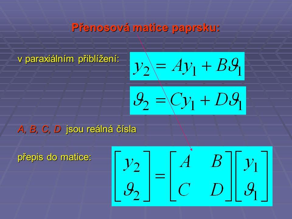 Přenosová matice paprsku: v paraxiálním přiblížení: A, B, C, D jsou reálná čísla přepis do matice: