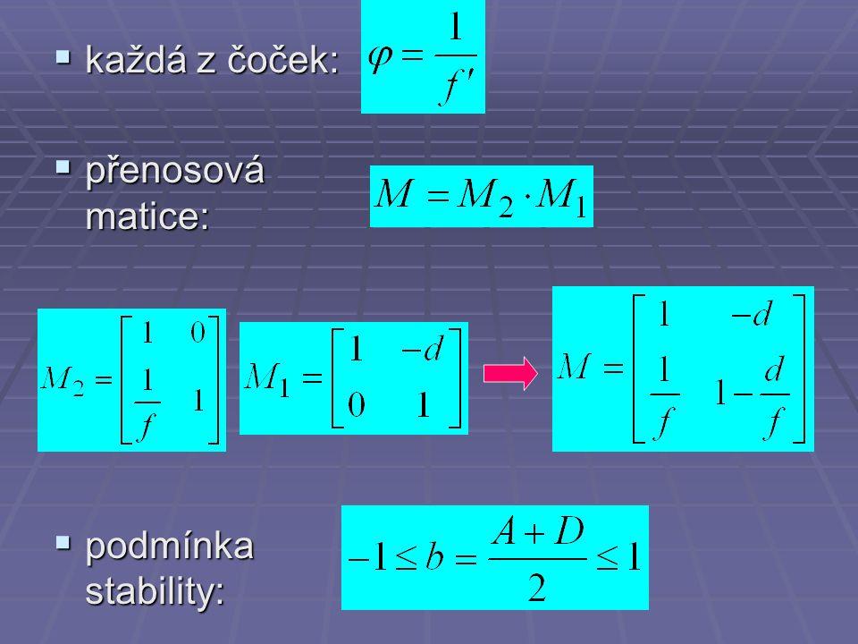  každá z čoček:  přenosová matice:  podmínka stability: