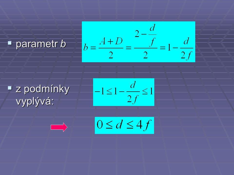  parametr b  z podmínky vyplývá: