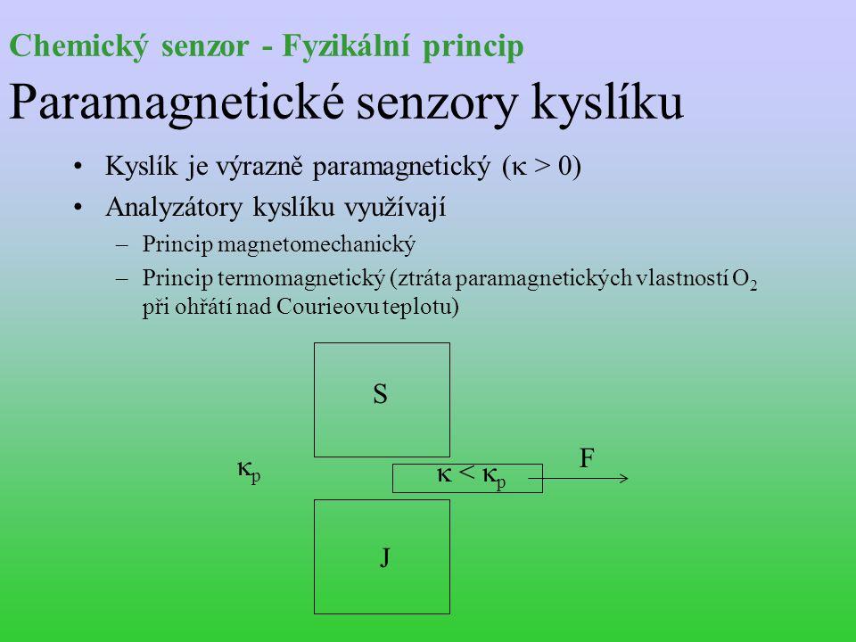 Chemický senzor - Fyzikální princip Paramagnetické senzory kyslíku Kyslík je výrazně paramagnetický (  > 0) Analyzátory kyslíku využívají –Princip magnetomechanický –Princip termomagnetický (ztráta paramagnetických vlastností O 2 při ohřátí nad Courieovu teplotu) F  <  p S J pp