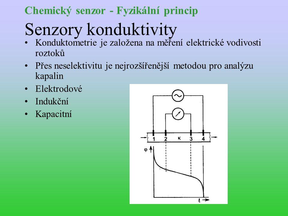 Chemický senzor - Fyzikální princip Senzory konduktivity Konduktometrie je založena na měření elektrické vodivosti roztoků Přes neselektivitu je nejrozšířenější metodou pro analýzu kapalin Elektrodové Indukční Kapacitní