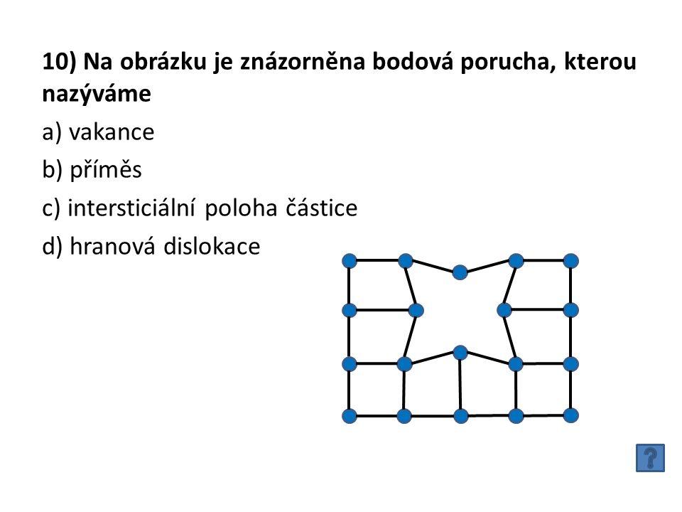 10) Na obrázku je znázorněna bodová porucha, kterou nazýváme a) vakance b) příměs c) intersticiální poloha částice d) hranová dislokace