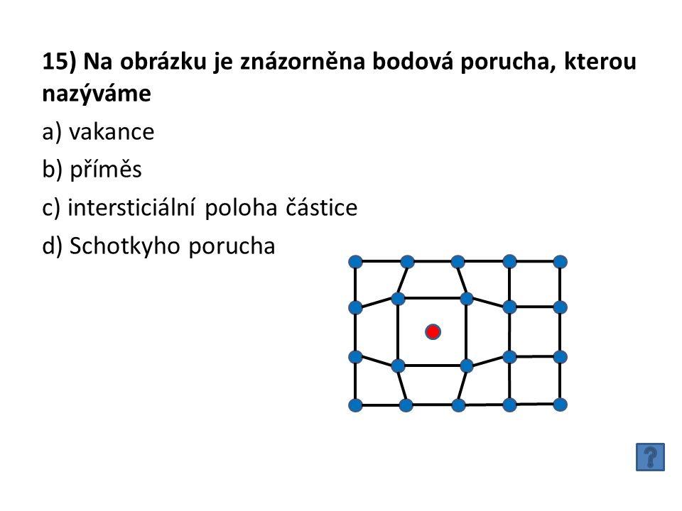 15) Na obrázku je znázorněna bodová porucha, kterou nazýváme a) vakance b) příměs c) intersticiální poloha částice d) Schotkyho porucha