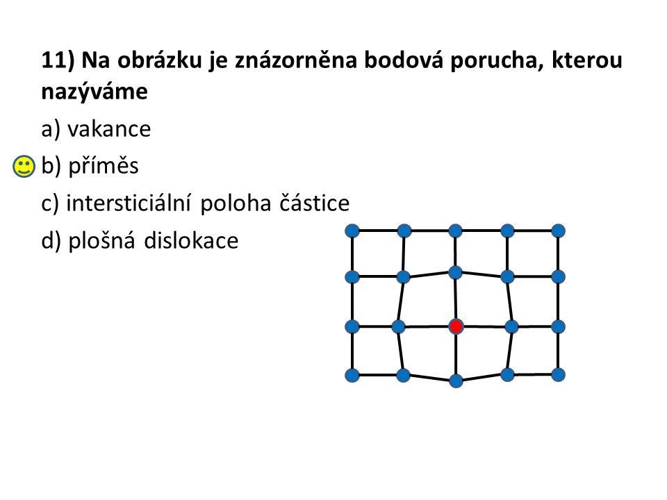 11) Na obrázku je znázorněna bodová porucha, kterou nazýváme a) vakance b) příměs c) intersticiální poloha částice d) plošná dislokace