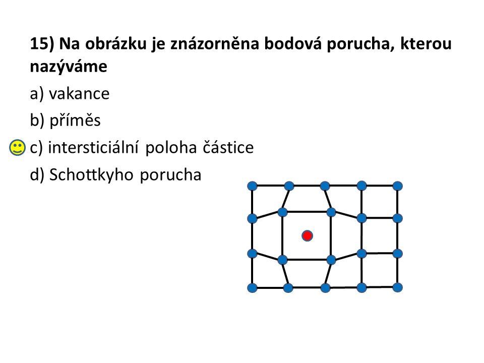 15) Na obrázku je znázorněna bodová porucha, kterou nazýváme a) vakance b) příměs c) intersticiální poloha částice d) Schottkyho porucha