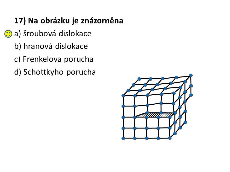 17) Na obrázku je znázorněna a) šroubová dislokace b) hranová dislokace c) Frenkelova porucha d) Schottkyho porucha