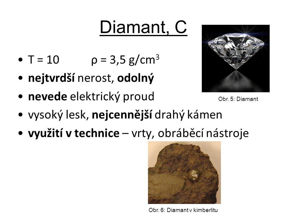 Diamant, C T = 10 ρ = 3,5 g/cm 3 nejtvrdší nerost, odolný nevede elektrický proud vysoký lesk, nejcennější drahý kámen využití v technice – vrty, obrá