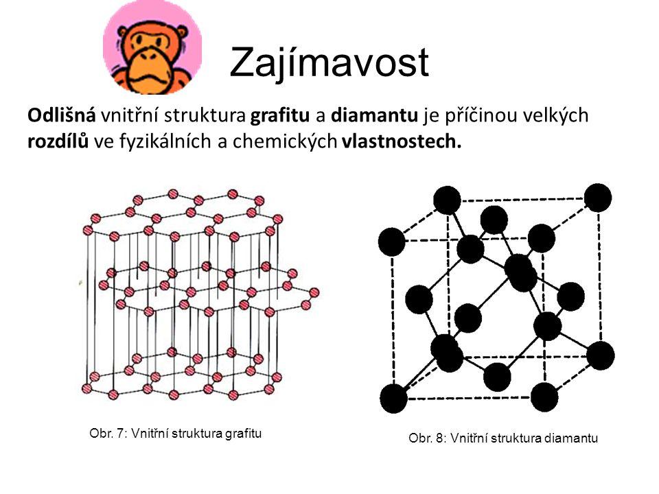 Zajímavost Odlišná vnitřní struktura grafitu a diamantu je příčinou velkých rozdílů ve fyzikálních a chemických vlastnostech. Obr. 7: Vnitřní struktur
