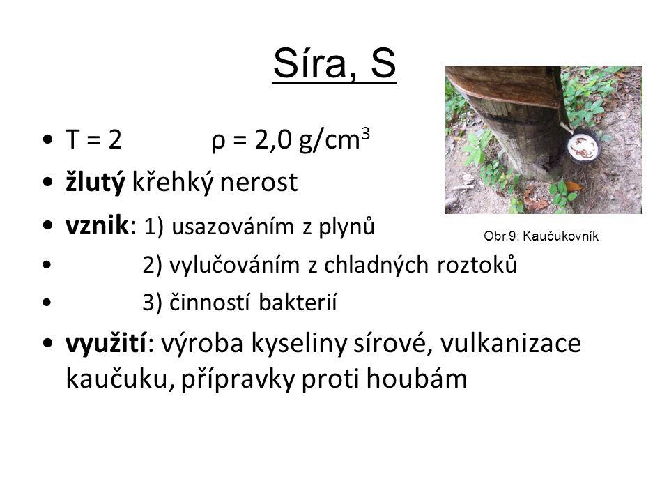 Síra, S T = 2 ρ = 2,0 g/cm 3 žlutý křehký nerost vznik: 1) usazováním z plynů 2) vylučováním z chladných roztoků 3) činností bakterií využití: výroba kyseliny sírové, vulkanizace kaučuku, přípravky proti houbám Obr.9: Kaučukovník
