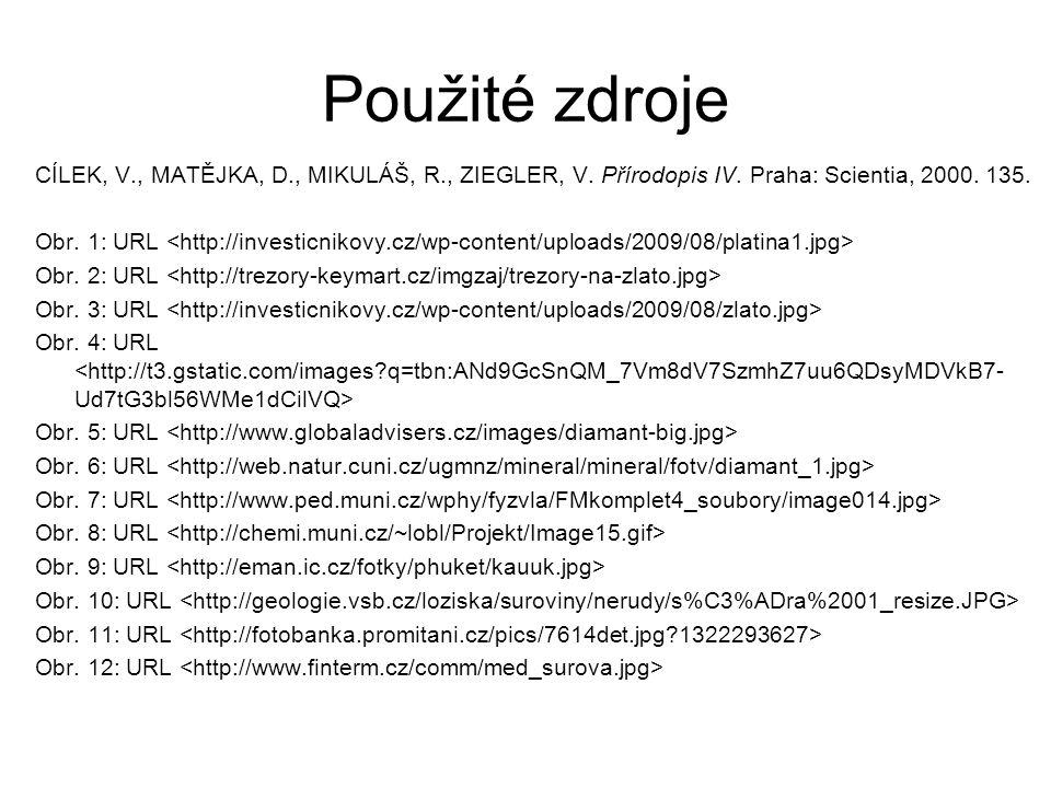 Použité zdroje CÍLEK, V., MATĚJKA, D., MIKULÁŠ, R., ZIEGLER, V. Přírodopis IV. Praha: Scientia, 2000. 135. Obr. 1: URL Obr. 2: URL Obr. 3: URL Obr. 4: