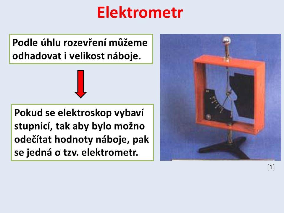 Pokud se elektroskop vybaví stupnicí, tak aby bylo možno odečítat hodnoty náboje, pak se jedná o tzv. elektrometr. Elektrometr Podle úhlu rozevření mů