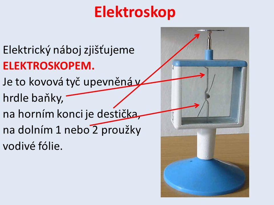 Elektroskop Elektrický náboj zjišťujeme ELEKTROSKOPEM. Je to kovová tyč upevněná v hrdle baňky, na horním konci je destička, na dolním 1 nebo 2 proužk