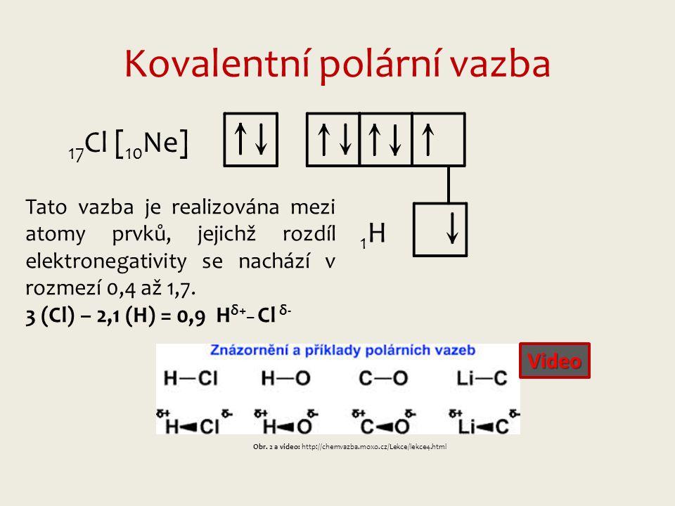 Kovalentní polární vazba 17 Cl [ 10 Ne] 1H1H Tato vazba je realizována mezi atomy prvků, jejichž rozdíl elektronegativity se nachází v rozmezí 0,4 až 1,7.