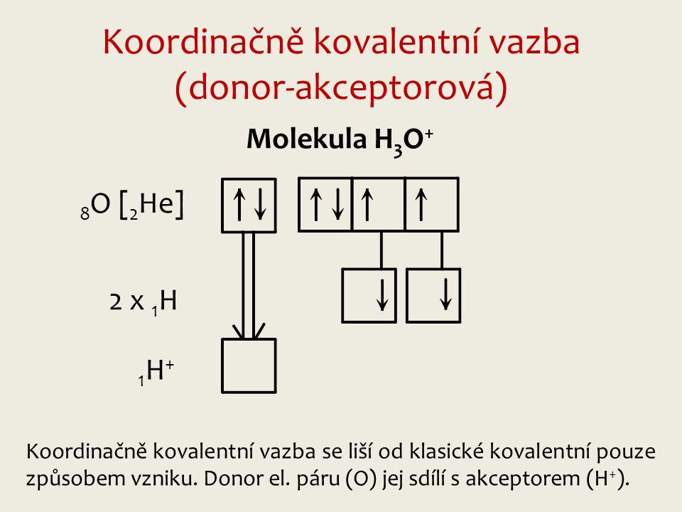 Koordinačně kovalentní vazba (donor-akceptorová) 8 O [ 2 He] 2 x 1 H 1H+1H+ Molekula H 3 O + Koordinačně kovalentní vazba se liší od klasické kovalentní pouze způsobem vzniku.