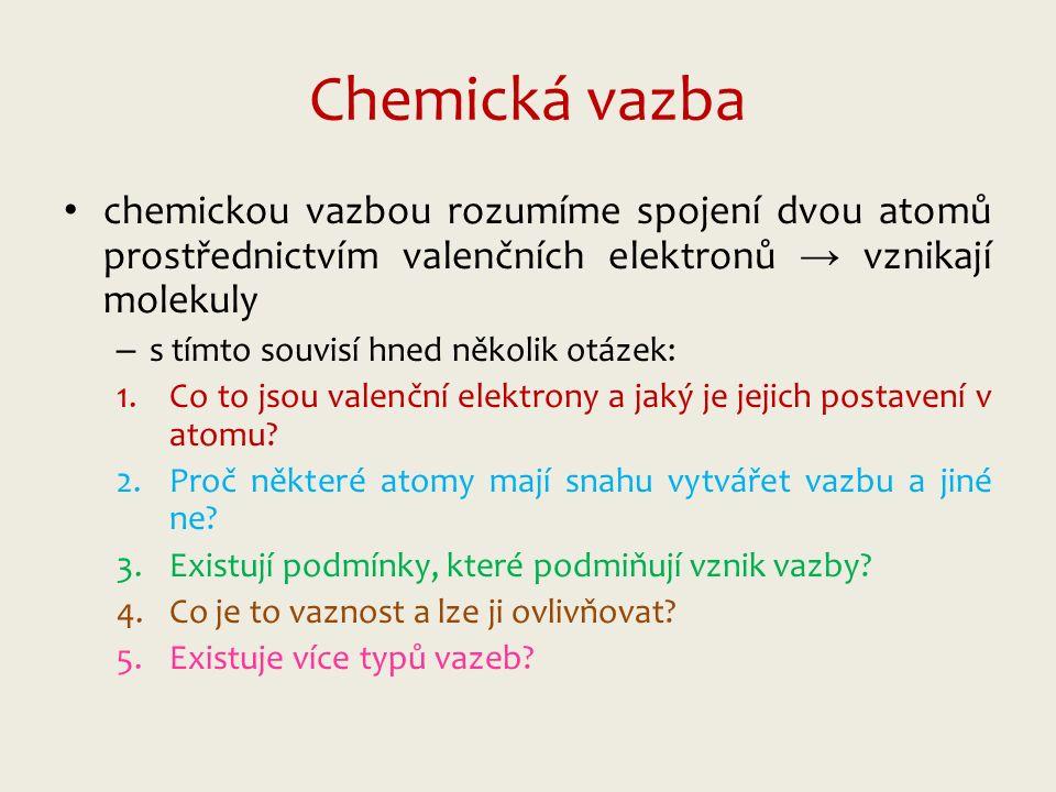 Chemická vazba chemickou vazbou rozumíme spojení dvou atomů prostřednictvím valenčních elektronů → vznikají molekuly – s tímto souvisí hned několik otázek: 1.Co to jsou valenční elektrony a jaký je jejich postavení v atomu.