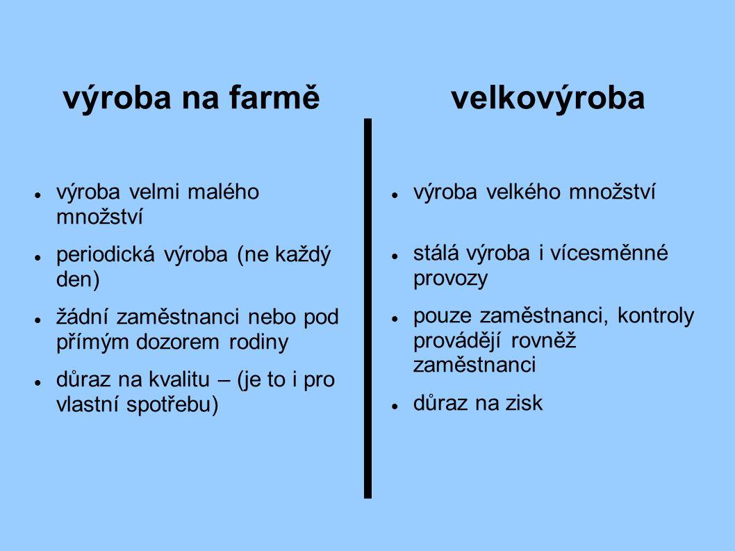 výroba na farmě výroba velmi malého množství periodická výroba (ne každý den) žádní zaměstnanci nebo pod přímým dozorem rodiny důraz na kvalitu – (je