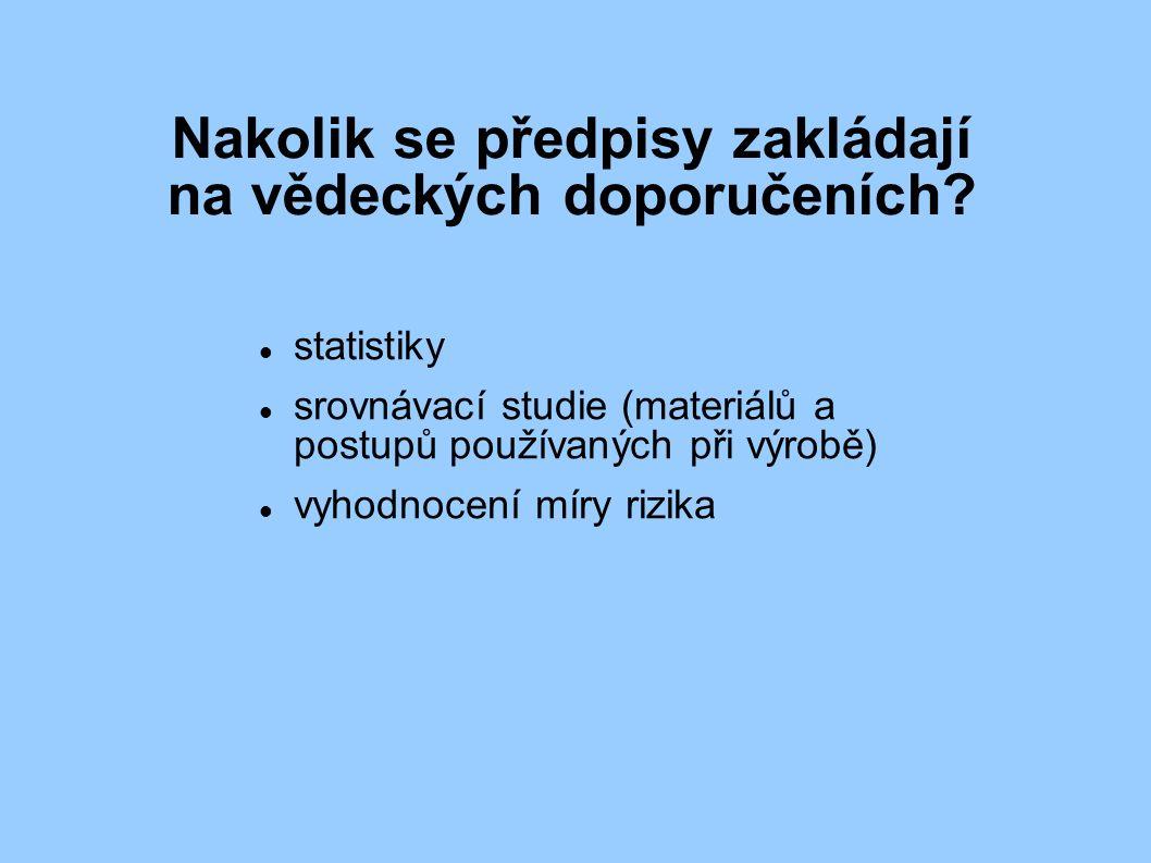 Nakolik se předpisy zakládají na vědeckých doporučeních? statistiky srovnávací studie (materiálů a postupů používaných při výrobě) vyhodnocení míry r