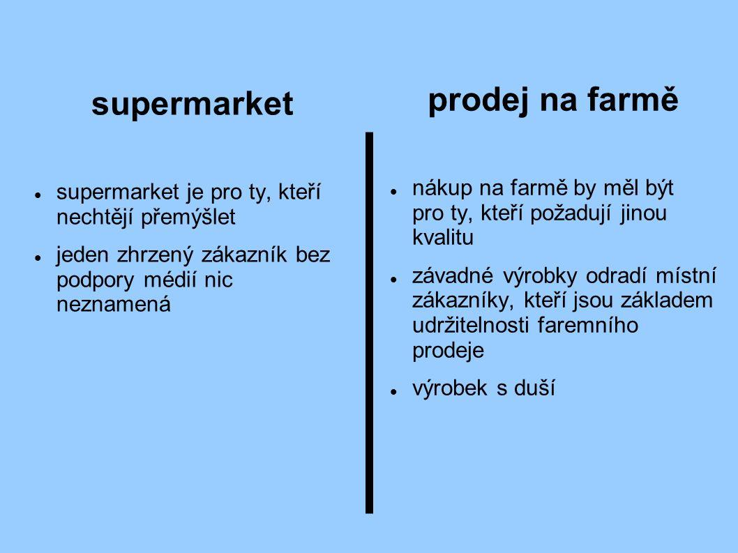 supermarket supermarket je pro ty, kteří nechtějí přemýšlet jeden zhrzený zákazník bez podpory médií nic neznamená prodej na farmě nákup na farmě by měl být pro ty, kteří požadují jinou kvalitu závadné výrobky odradí místní zákazníky, kteří jsou základem udržitelnosti faremního prodeje výrobek s duší