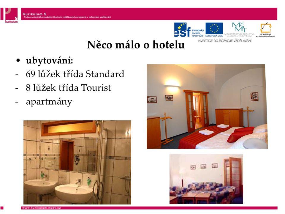 Něco málo o hotelu ubytování: -69 lůžek třída Standard -8 lůžek třída Tourist -apartmány